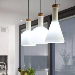 3頭長形白色 玻璃瓶 餐吊燈