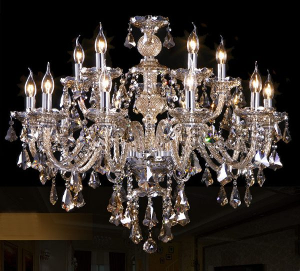 出口品質 干邑色 12頭水晶蠟燭燈