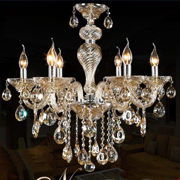6頭干邑色水晶蠟燭燈