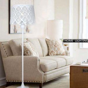 白色花卉造型燈罩地燈