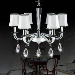 白色 高級壓鑄鋅合金 簡約水晶吊燈