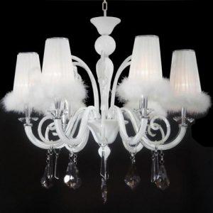 白色羽毛燈罩 簡約水晶吊燈