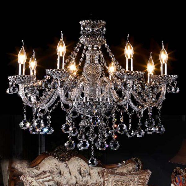出口品質 電鍍珍珠黑 8頭 水晶蠟燭燈 多種尺寸可訂造