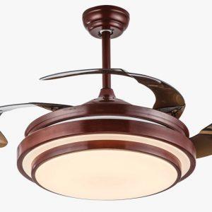 彷紅木色隱形風扇燈 可伸縮扇葉 LED遙控 36吋/42吋可選