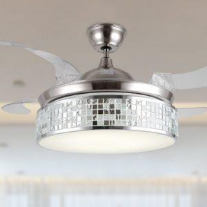 隱形風扇燈 手工拼貼藝術玻璃罩 LED42吋吊扇