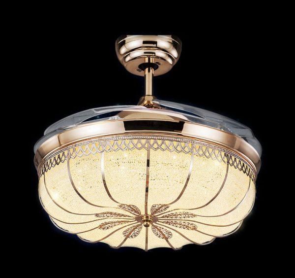 隱形風扇燈 金色高貴可伸縮扇葉吊扇