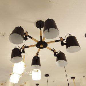6頭黑色木製吸頂燈