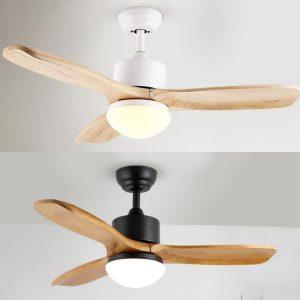 原木/實木風扇燈現代自然風格 LED吊扇黑色/白色/啡色 42吋/52吋3色可選