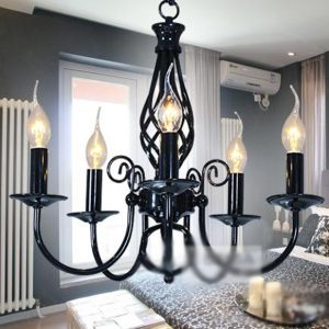 黑色五頭地中海吊燈