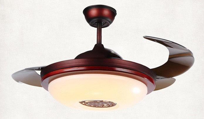 隱形風扇燈 可伸縮扇葉 中式彷木製款式