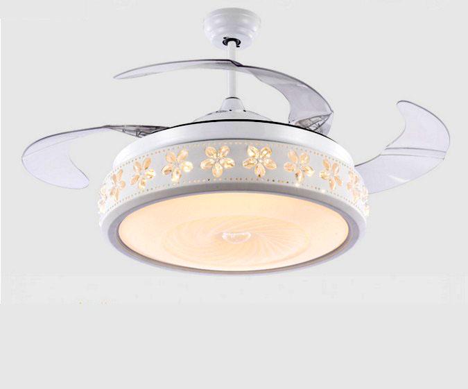 隱形風扇燈 可伸縮扇葉 42吋 白色吊扇