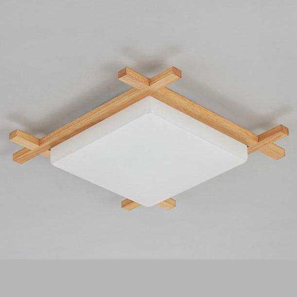 現代吸頂燈 正方形 日式傳統和式原木製 大中小 尺寸可選