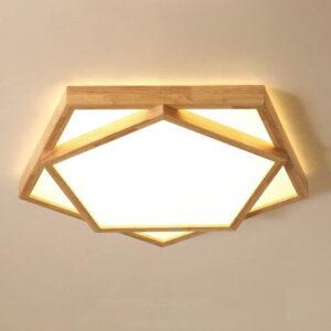 現代吸頂燈 雙層五角星 和式原木製 大中小尺寸可選