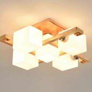 現代吸頂燈 日本風格 和式原木製 4頭/5頭/8頭可選