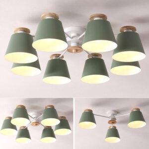 現代吸頂燈 多色可選 天然木配飾 3頭/5頭/6頭/8頭可選