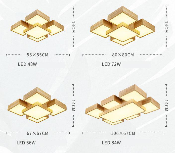 現代吸頂燈 四方 長方 日本風格 和式 原木製 4頭/7頭可選