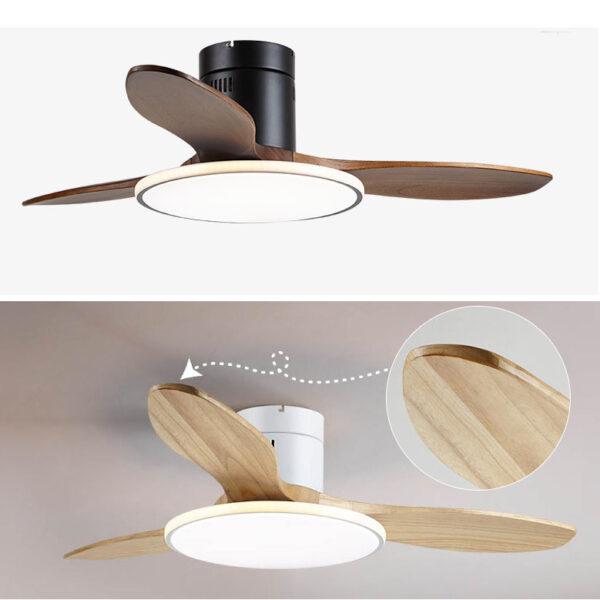 低樓底專用 總高25cm 現代設計 實木葉 吸頂風扇燈 黑色/白色 42吋/48吋可選