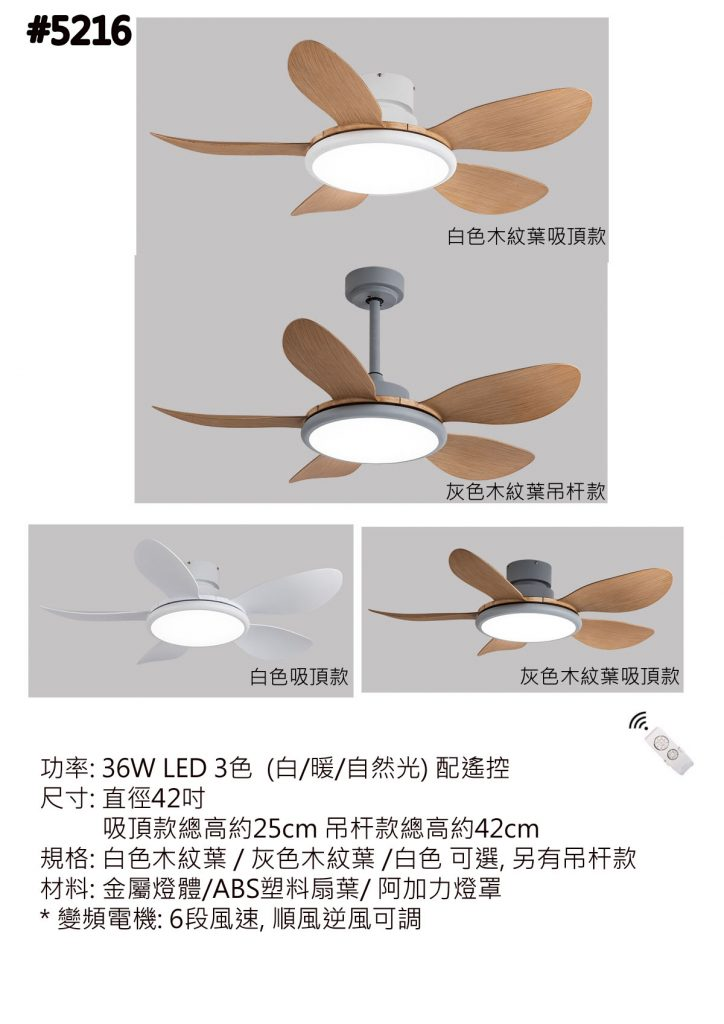 現代設計低樓底專用 風扇燈 36吋 42吋 52吋 木紋葉 白色 灰色可選 吊杆 吊扇燈 Ceiling Fan